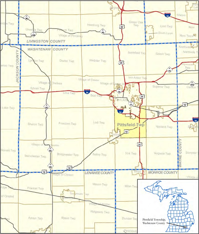 border map of Pittsfield Township